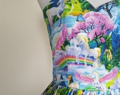 50's style Chasing Rainbows Print Cotton Dress, Unicorns, Pinup, vintage reproduction