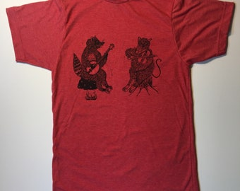 a5914076 Heather Red Soft Style Screen Printed T Shirt with a Raccoon Playing Banjo  & Possum Playing Fiddle