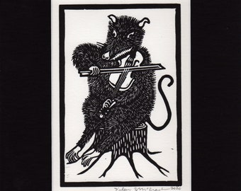 Possum Playing Fiddle Matted Linocut Hand Printed Hand Carved Black & White