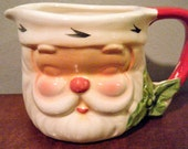 Small Santa Pitcher, Santa 39 s with Closed Eyes, Shaped Ceramic Earthenware, Shabby Chic, Vintage Creamer Pitcher for Christmas