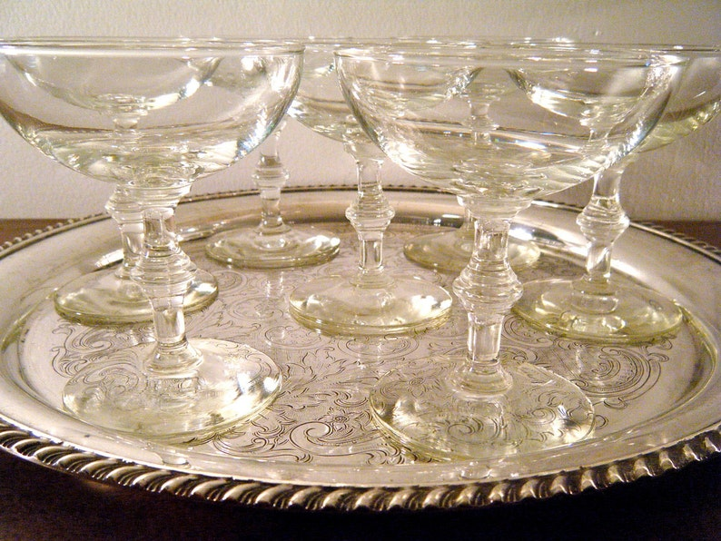 Mid-Century Champagne Coupe Glasses Mad Men Great Gatsby image 0