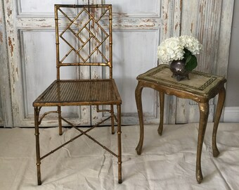 Faux Metal Bamboo Chair,bamboo Chair,faux Bamboo Chair,gold Bamboo Chair,antique  Chair,vintage Hollywood Regengy Chair,cane Seat Chair
