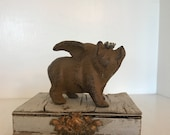 """4"""" cast iron flying pig, pig with Crown, metal crown ,Statue, Figurine, paper weight, book end,pig with wings,when pigs fly"""