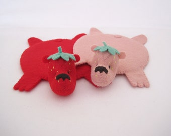 StrawBeary Coaster (Set of Two) by Dandyrions / Home Decor / Felt Cup Coaster