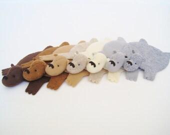 Felt Bear Coasters (Set of Six)
