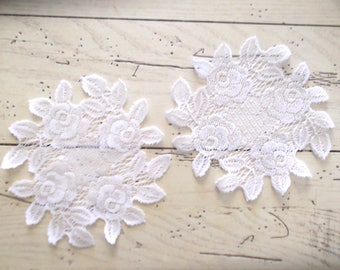 Vintage Lace Doily, Set of Two Doilies, White Lace Doily, Rustic Wedding Decor