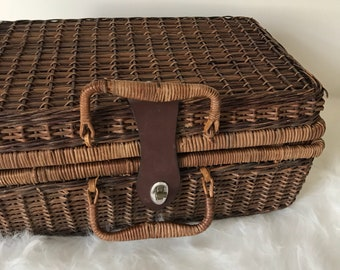 Wicker Picnic Basket, Rattan Suitcase, Boho Wicker, Bohemian Decor, Picnic Basket With Lid
