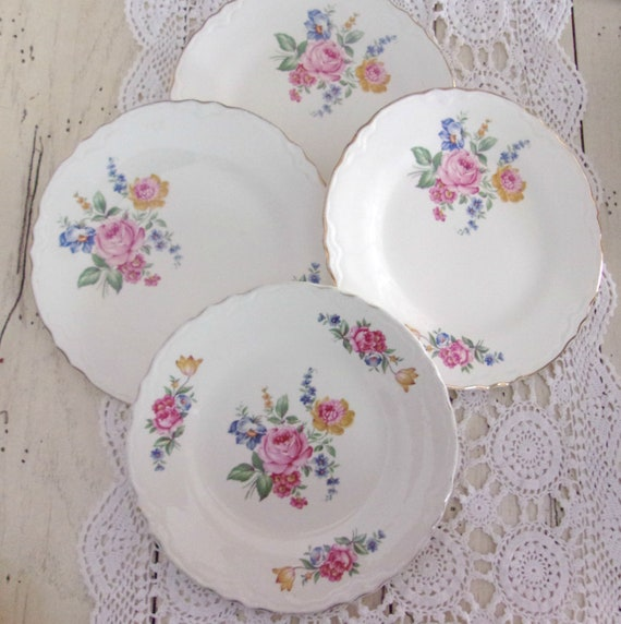 Mix and Match Plates, Shabby Roses China, Vintage Scio China, Wedding Plates, Tea Party Dishes