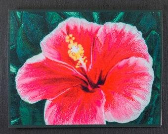 Hibiscus Flower Note Card, Original Art Note Card Hawaiian Flower