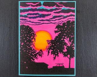 Surfs Up Sunset Note Card, Original Art Note Card SUP, Surfer, Board Sport Gift