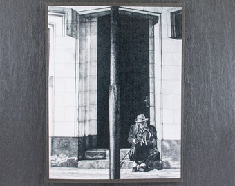 Division Black and White Original Art Note Card, Pencil Graphite Art Note Card