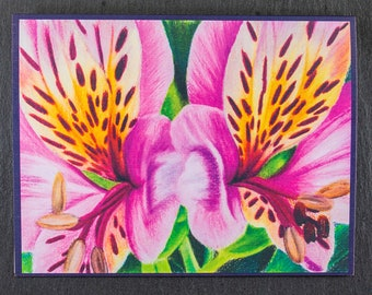 Peruvian Lily Flower Note Card, Original Art Note Card Pink Lily Flower