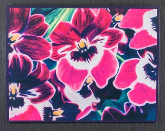 Orchid Flower Note Card, Original Art Note Card Pink Orchid Flower