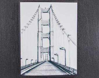 Golden Gate Bridge Black and White Original Art Note Card, Pencil Graphite Art Note Card San Francisco, California