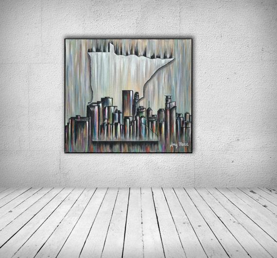 Minneapolis Skyline Art Minneapolis Skyline Wall Art | Etsy