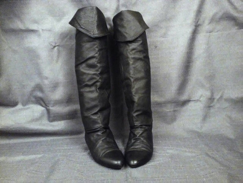 028de9bbb2524 vintage 80s black leather over the knee boots slouchy pirate fold over flat  womens size 5 lace up silver studs