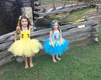 pokemon squirtle tutu dress costume pikachu pokeball inspired halloween costume or birthday dress birthday parties or dress up