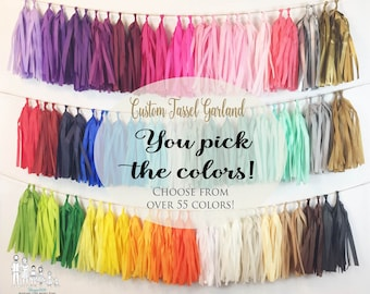 DIY Custom Tassel Garland - Tissue Paper Tassels Garland Kit Set of 6 to 50 - Choose Your Colors and Quantity
