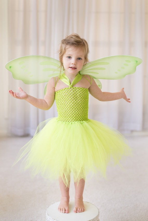Tinkerbell Fairy Costume Inspired Birthday Dress / Halloween Costume Perfect for Dress Up Woodland Fairy Party
