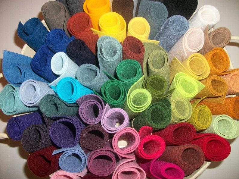 20 sheets Wool Felt  Choose any colors 9 x 12 image 0