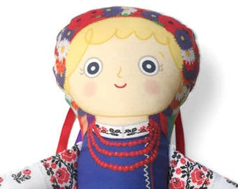 Handmade Ukrainian Doll - Oksana Cloth Doll Female Character From My Ukrainian American Story, Children's Picture Book by Adrianna Bamber