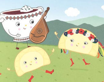 Ukrainian Bandura Borsch (Borscht Beet Soup) and Dancing Perogies (Perohy, Varenyky) Blank Greeting Card - Illustration by A.Bamber