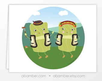Hutsulski Holubtsi, Holubchi, Golumpki ...dancing stuffed cabbage rolls blank greeting card- Illustrated by Adrianna Bamber