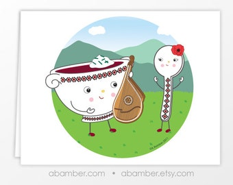 Ukrainian Bandura Borsht, Borcht, Borsch, borshch (Beet Soup) and Spoon Blank Greeting Card - Illustration by A.Bamber