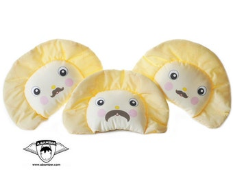 Moustache Perogy (Ukrainian Varenyk) Throw Pillow - Cute Fabric Food Dumpling made by Adrianna Bamber