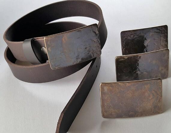 Men's Hand Forged Rugged Gift Belt & Buckle SET Wedding Accessories Belt and Buckle for Jean Signed Original Buckle w/ Leather Belt /Bag