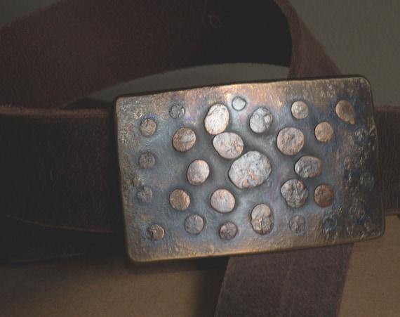 Bronze Belt & Buckle, Bronze Anniversary Gift, Belt Buckle, Leather Snap Belt, Unisex Jean Accessories, Bronze Accessory, Belt and Buckle