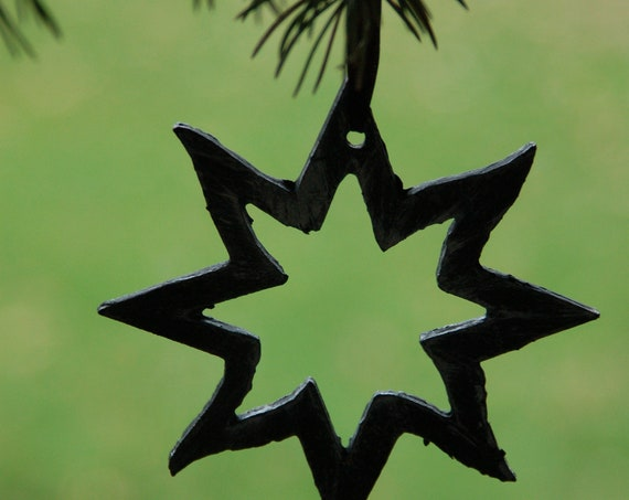 Ornament ~ Hand Painted Metal Star, Baby's 1st Christmas, Tree Ornament, Hostess Gift, Stocking Stuffer, Home Decor, Decoration, Handmade