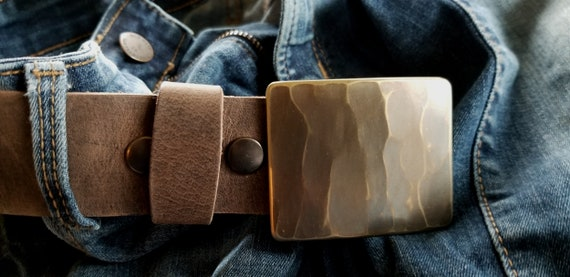 "SquareISH Bronze Wood Grain Belt & Buckle Set For Jeans, Unisex Gifts, Hand Forged Stainless Steel Buckle and 1-1/2"" Belt, Choose Your Color"
