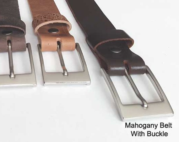 "Mahogany Leather Belt with Snaps, Custom Cut - Belt Keeper & Buckle ~ Will Custom Cut for You ~ 1-1/4"" wide Belt for Suits - Every day Belt"