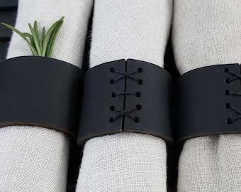 Napkin Rings, Black Leather, Hand Sewn, Wedding Table, Hostess Gift, Casual Dining, Alfresco, Housewarming Gift, Home Decor, Table Decor