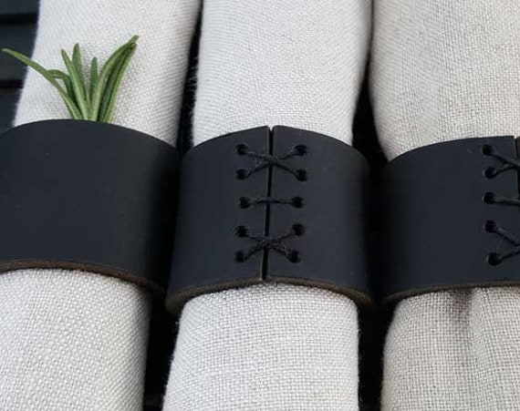Napkin Rings, Black Leather, Hand Sewn, Wedding Table, Hostess Gift, Casual Dining, Alfresco, Housewarming Gift, Home Decor, Table Decor