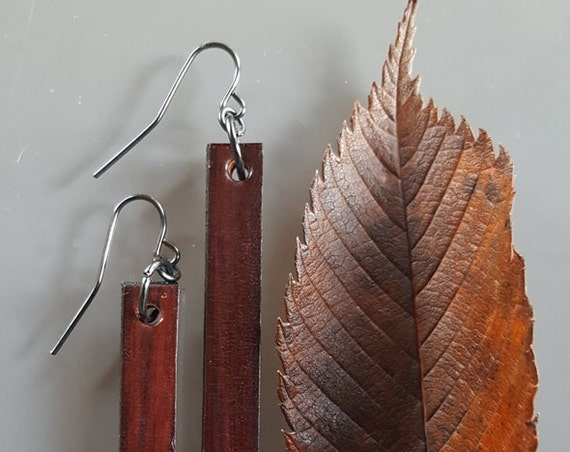 Lightweight Leather Earring Set Dark Brown Woodgrain with Bronze, Silver or Gold Shepherd Hooks Ladies Earring Set Jewelry with Gift Bag
