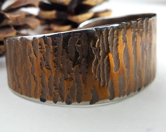 Custom Bronze Copper Hand Forged Cuff Bracelet Hypoallergenic Unisex Stainless Steel Anvil Textured Signed Original by Robert Aucoin Artist