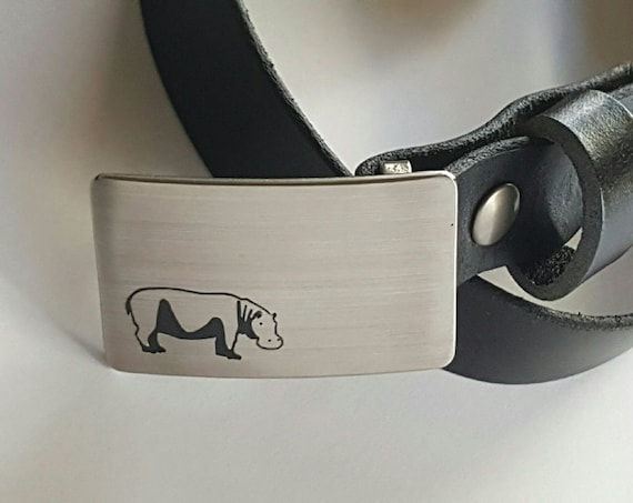 "Personalized African Safari Belt & Buckle Set Etched Hippo, Zebra ~ Customize ~ Design Your Buckle w/ 1-1/4"" Wide Leather Belt with Snaps"