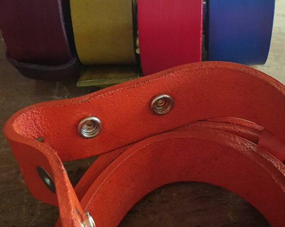 "1-1/2"" Hand Dyed Coloured Leather Belt INTERCHANGEABLE Custom Cut for Jeans /Casual INTERCHANGEABLE Unisex Leather Belts w/snaps 1-1/2"" Wide"