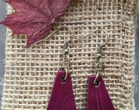 Lightweight Plum Leather Earring Set ~ Bronze Shepherd Hooks ~ Hand Dyed Earring Set Leather Jewelry w/ Burlap Storage Bag-Perfect Gift