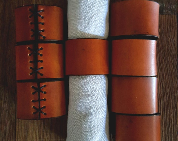 8 Leather Napkin Rings Hand Dyed Tan w/ Black ~ Hostess Gift ~Wedding ~ Dining ~ Alfresco ~ Housewarming ~ Home Decor ~ Gifts for Chefs