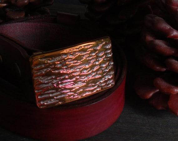 """Belt & Buckle SET, Plum Gold, Anvil Texture, Unisex, Suit Belt Buckle, Hypoallergenic Accessory, 1.25"""" Hand Dyed Plum Leather Belt for Suit"""