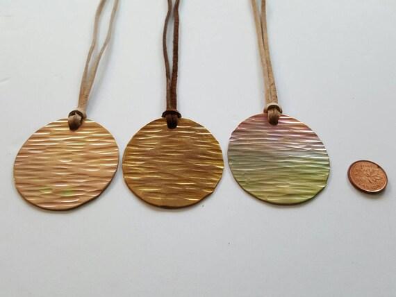 Women's Lightweight Necklace on Leather Strap & Gift Bag ~ Bridesmaid Gift Pastel Pendant Necklace Keepsake Boho Jewelry Ship Worldwide