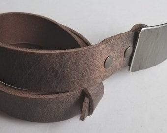 Belt & Buckle Set, Silver Woodgrain Buckle and Belt, Signed Original, Hypo Allergenic Buckle w Leather Belt, Jean Buckle and Belt w Snaps