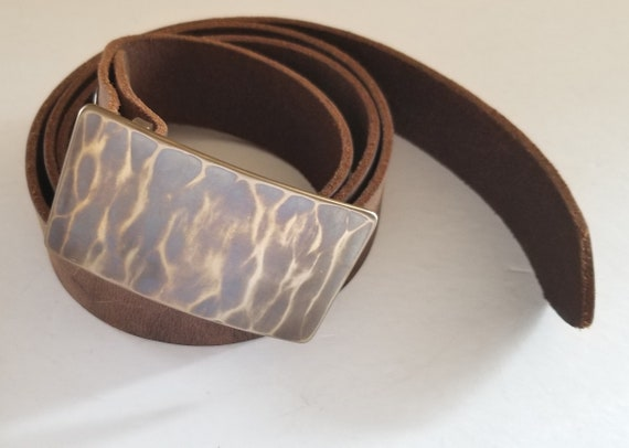 """Father's Day Belt Buckle, Wood Grain, Wood Lovers, Canadian Hand Forged Stainless Steel Work Gear, Accessories for Jeans fits 1-1/2"""" Belt"""