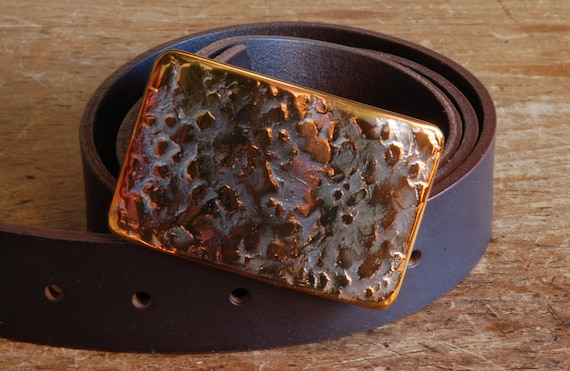 "Hypo Allergenic Orange Textured Belt Buckle Solid Stainless Steel Hand Forged Accessories Signed Original Buckle Fits 1-1/2"" Belt for Jeans"