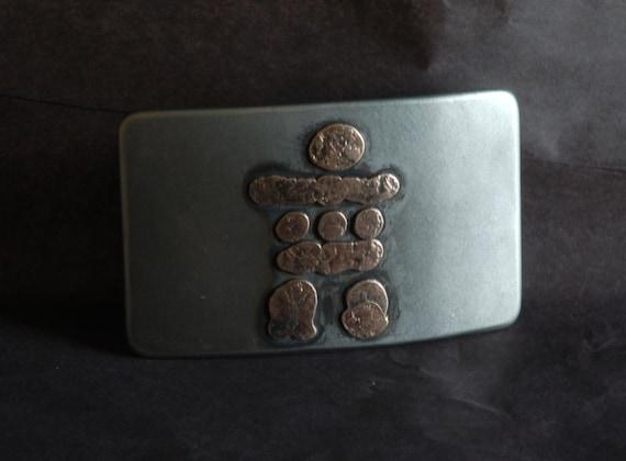 "Inuit Art Canadian Inukshuk Belt Buckle ~ Hand Forged Stainless Steel ~ Canadian Made ~ Canadian Souvenir ~ Belt Buckle fits 1-1/2"" Belt"