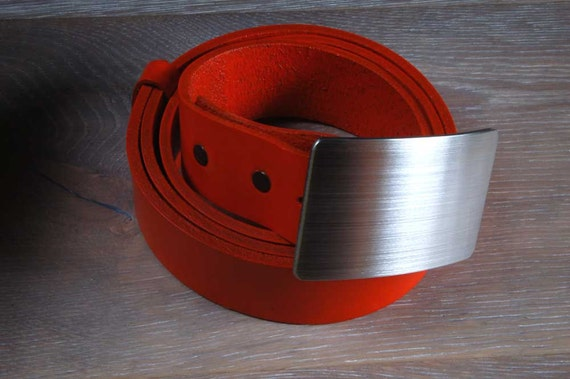"""Unisex Hypoalergenic Brushed Stainless Steel Belt Buckle & Orange Hand Dyed 1.5"""" Leather Belt Custom Cut to your waist size For Jeans/Chinos"""