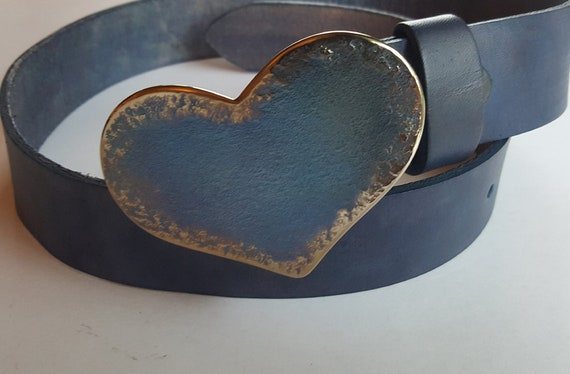 """Heart Belt Buckle, Lover's Gift, Hand Forged Heart Buckle, Gift for Gal, Anniversary Gift, Many Colours,  Buckle Fits 1.5"""" Belt for Jean"""